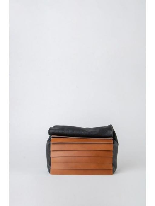 Black and taba paneled folded pounch bag