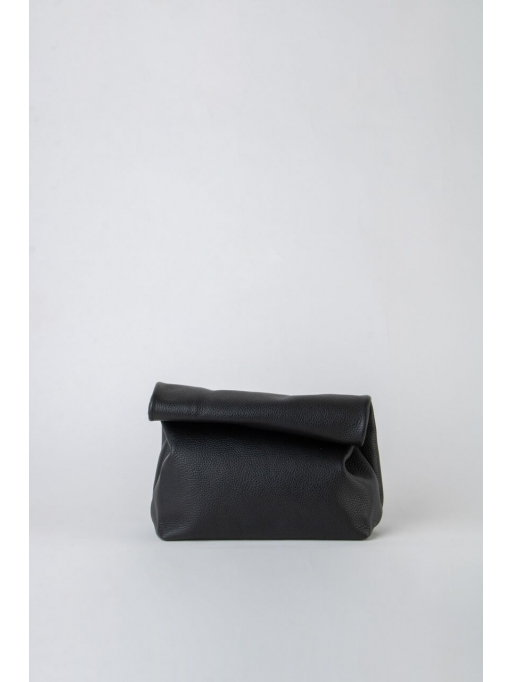 Black leather lunch bag