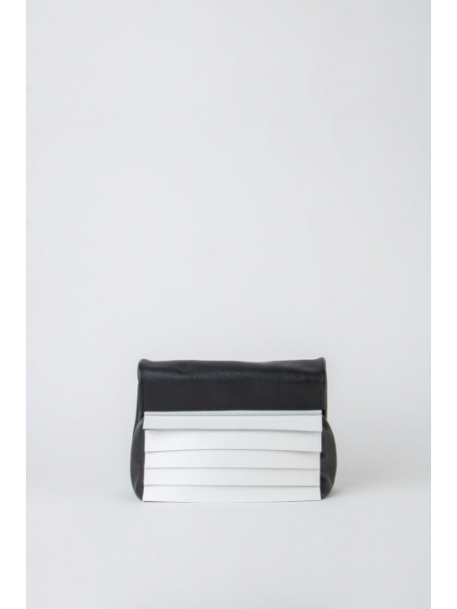 Black and white paneled folded pounch bag