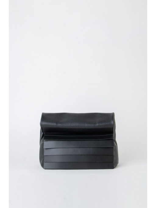 Black paneled folded pounch bag