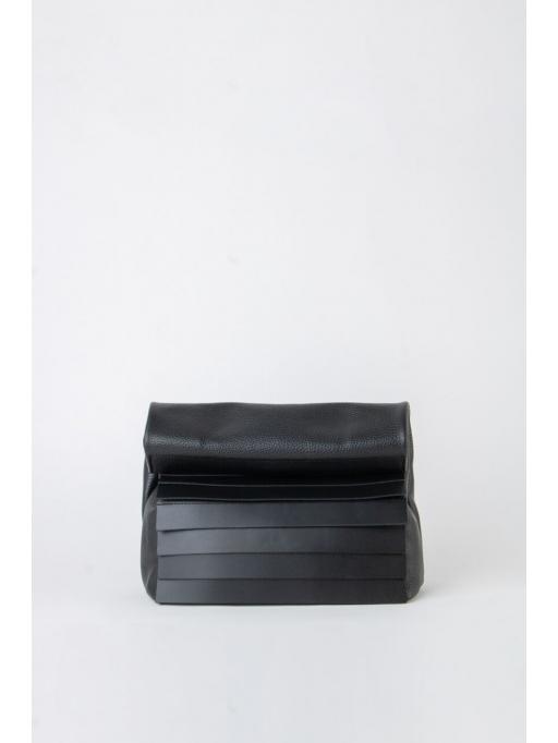 Black paneled folded pounch bag