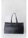 Large black paneled shoulder bag