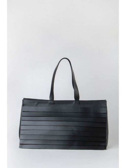 Large black paneled shoulder bag