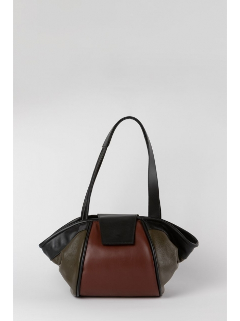 Colorblock brown structured tote bag