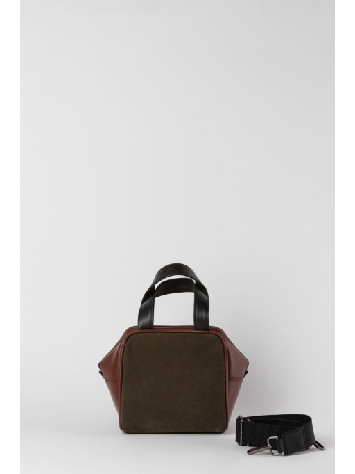 Olive green and brown box bag