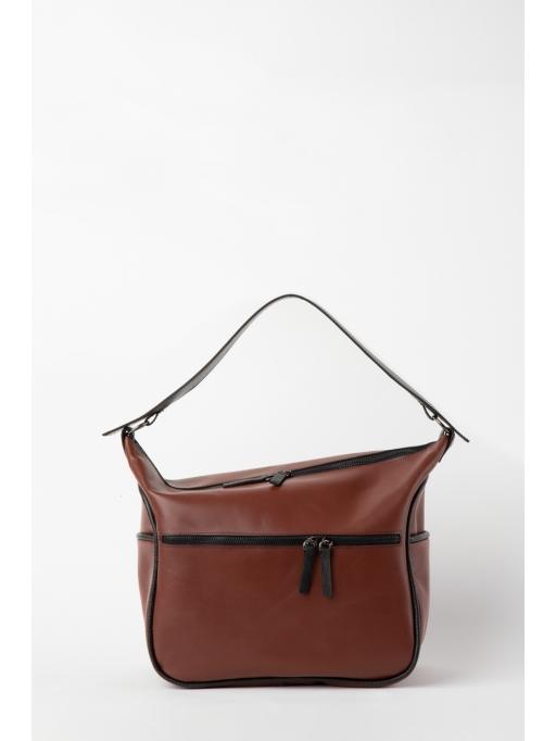 Brown and black hobo bag