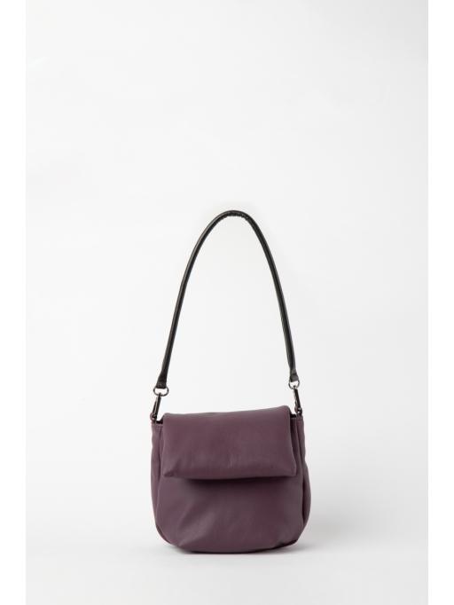 Purple and black foldover shoulder bag