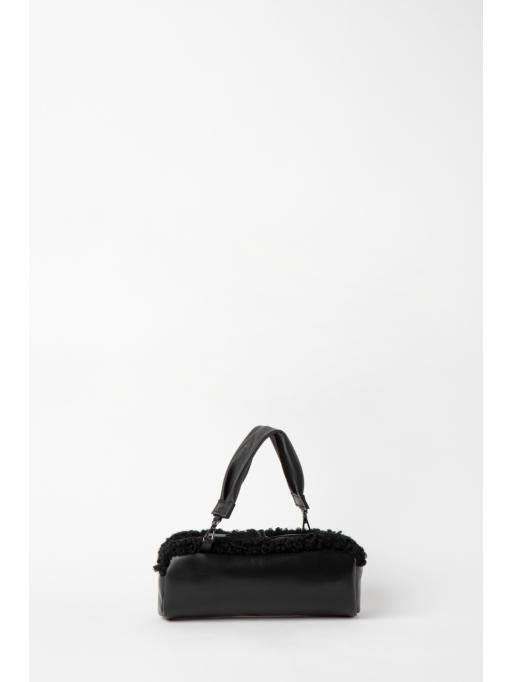 Black barrel shoulder bag
