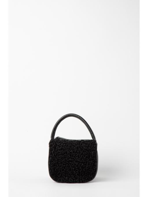 Black fur and leather box bag