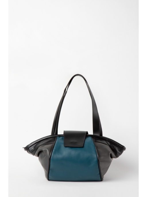 Colorblock blue structured tote bag