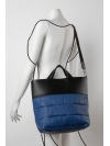 Blue and black quilted tote bag