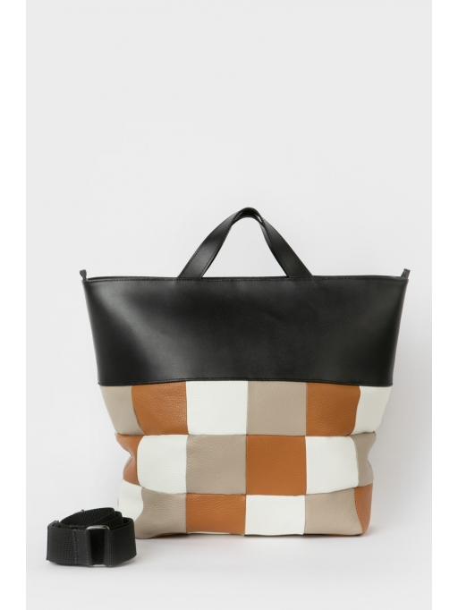 Colorblock quilted tote bag