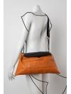 Orange and black leather shoulder bag