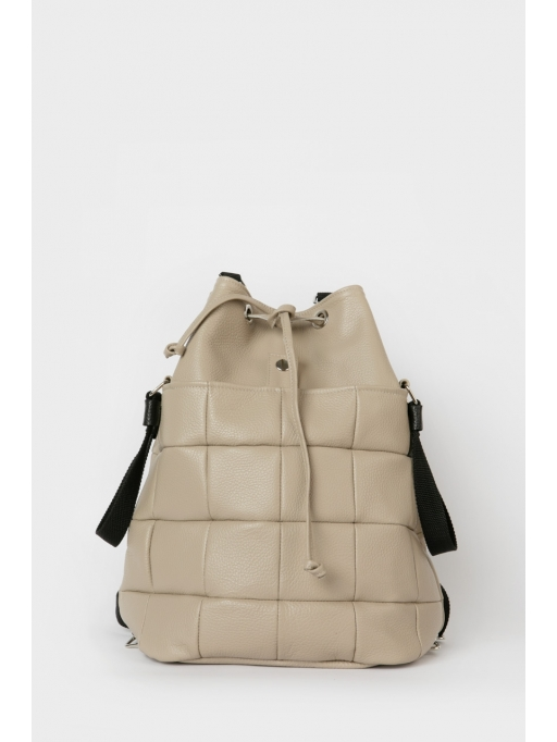 Taupe quilted leather drawstring bag