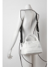 White quilted curved top handle bag