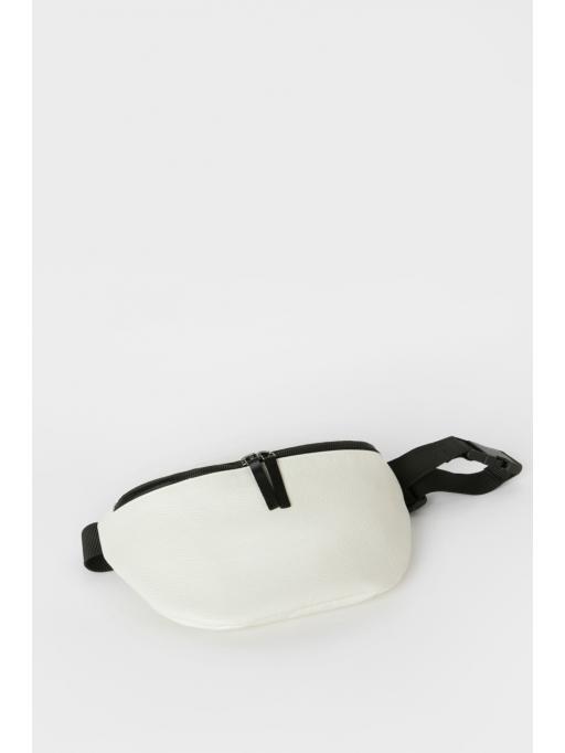 White leather belt bag