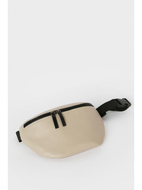 Taupe leather belt bag