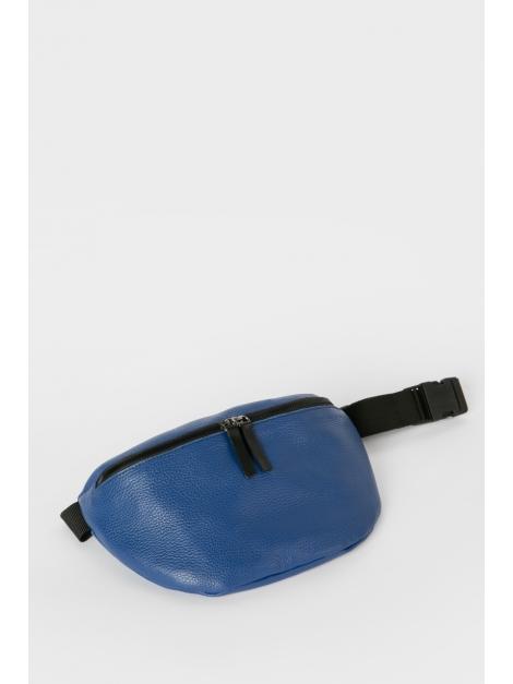 Blue leather belt bag
