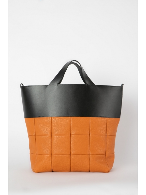 Orange and black quilted tote bag