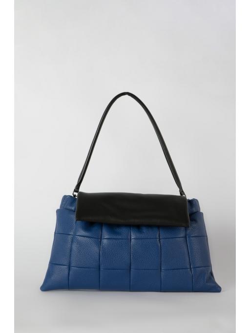 Blue and black flapover leather shoulder bag