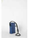 Blue quilted leather phone pouch