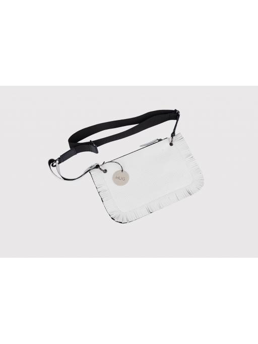 White fringe leather belt bag