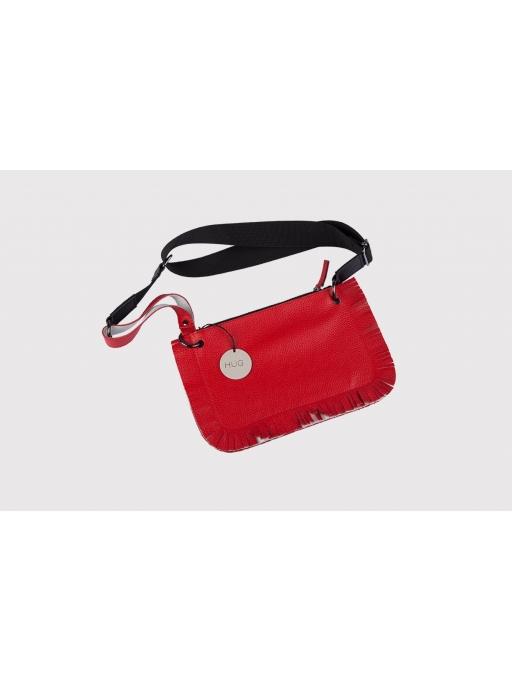 Red fringe leather belt bag