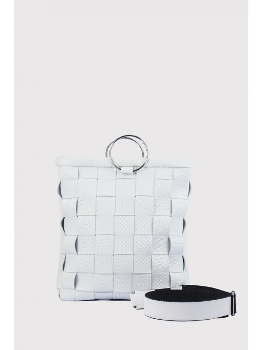 White woven bracelet bag