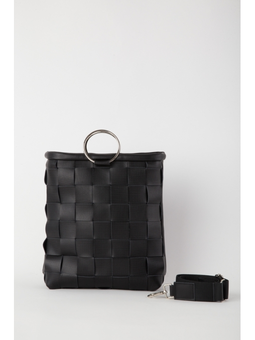 Black woven bracelet bag