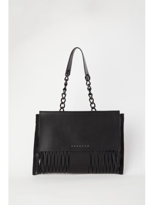 Black leather-net  shoulder bag
