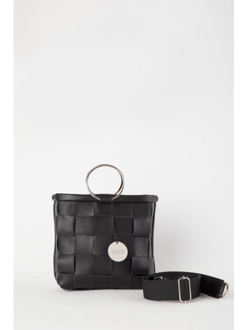 Black woven top handle bag