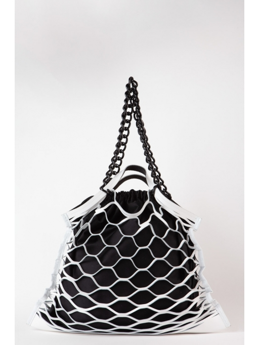 White leather net shoulder bag