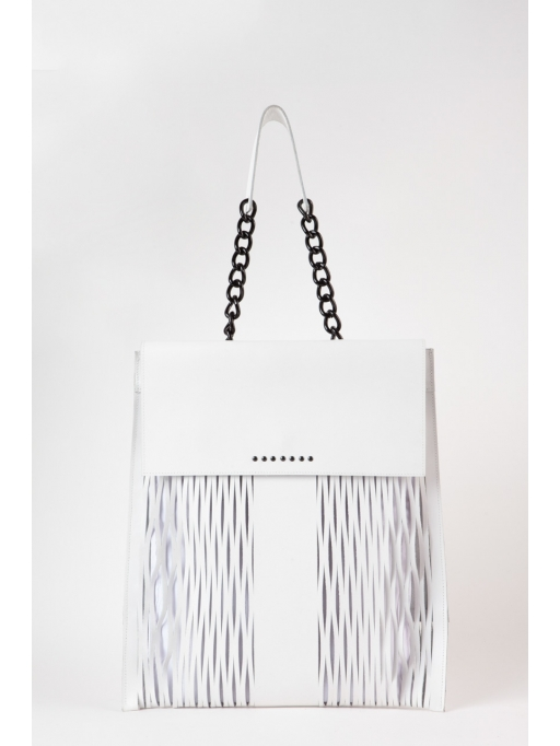 White laser-cut chain shoulder bag