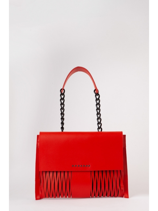 Red small leather-net shoulder bag