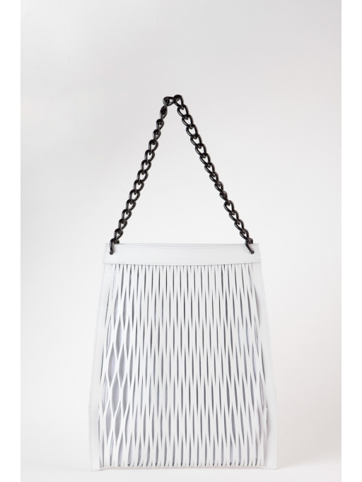 White leather-net shoulder bag