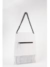 White leather-net shoulder bag