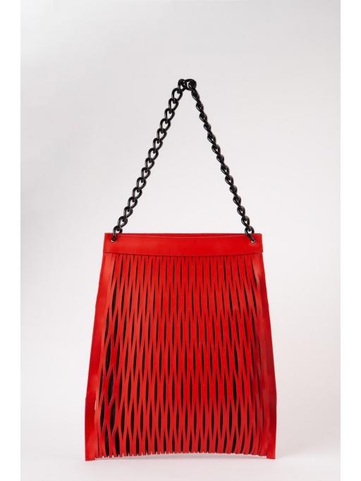 Red leather-net shoulder bag