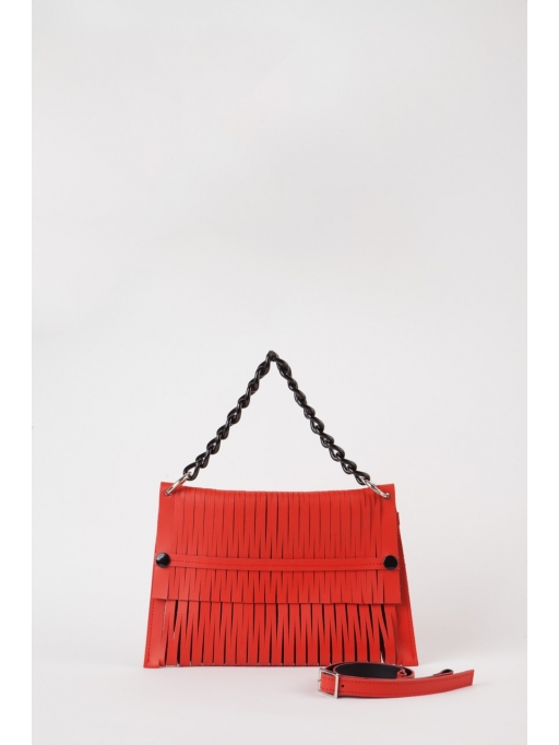 Red leather-net bag