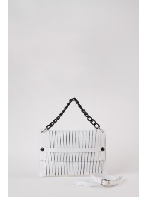 White leather-net bag