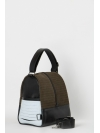 Colorblock suede leather backpack