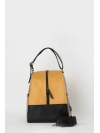 Colorblock yellow-snakeprint leather backpack
