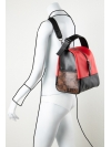 Colorblock red-snakeprint leather backpack