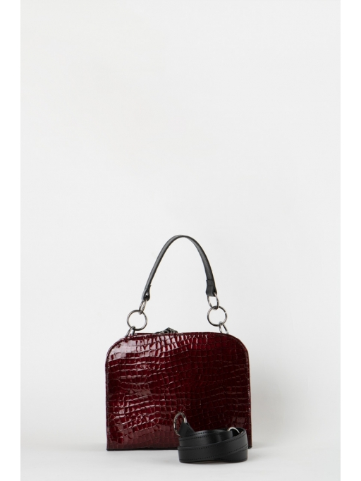 Croco-embossed burgundy leather boxy bag