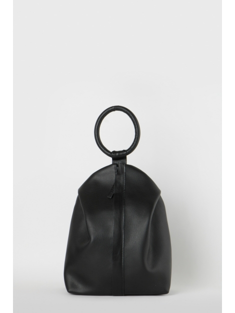 Black embossed leather-ring backpack