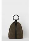Dark khaki embossed leather ring backpack