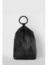 Large black embossed leather ring-handle backpack