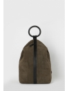 Large dark khaki embossed suede leather backpack