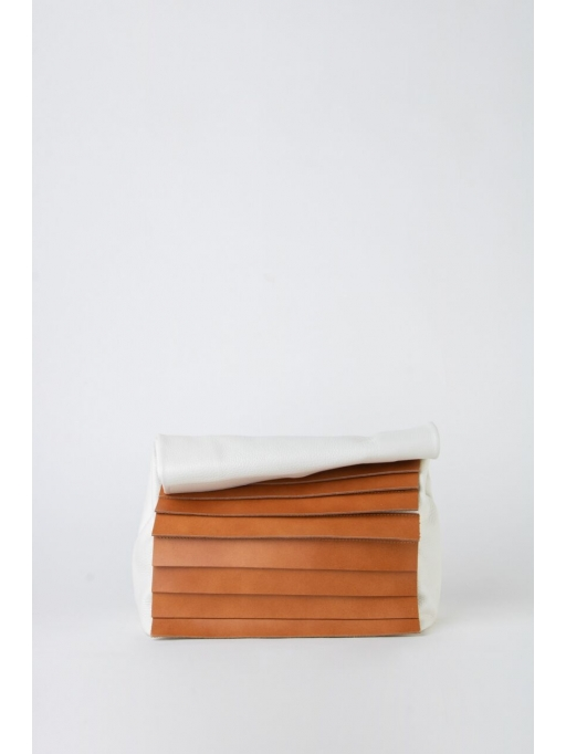 White and tabac paneled folded pounch bag