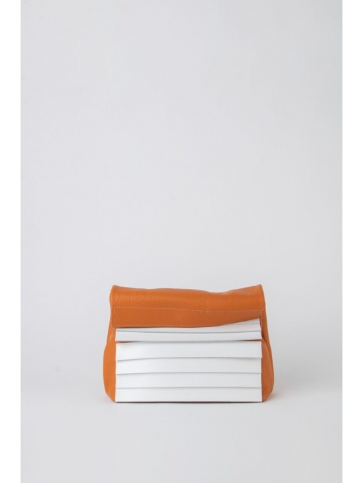 Orange and white paneled leather lunch bag